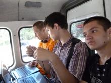 в маршрутке слева направо,  Илья Анатольевич, Илья Дмитриевич, Евгений Юрьевич