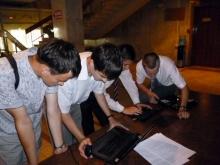 Перед конкурсом, слева направо, Голощапов Александр Васильевич (зрительный элемент), Илья Дмитриевич, Евгений Юрьевич, Илья Анатольевич