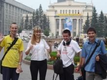 Гуляние по Новосибирску, слева направо, Илья Анатольевич, Ирина Геннадьевна, Евгений Юрьевич, Илья Дмитриевич